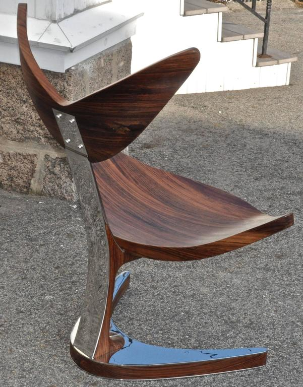 Modern Rosewood and Polished Stainless Steel Chair By Bruno Helgen For Sale
