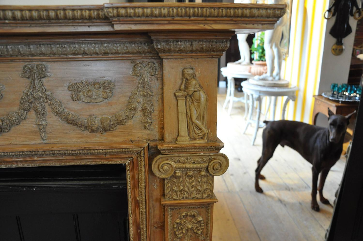 Period georgian pine mantel 18th century irish or for Z furniture philadelphia