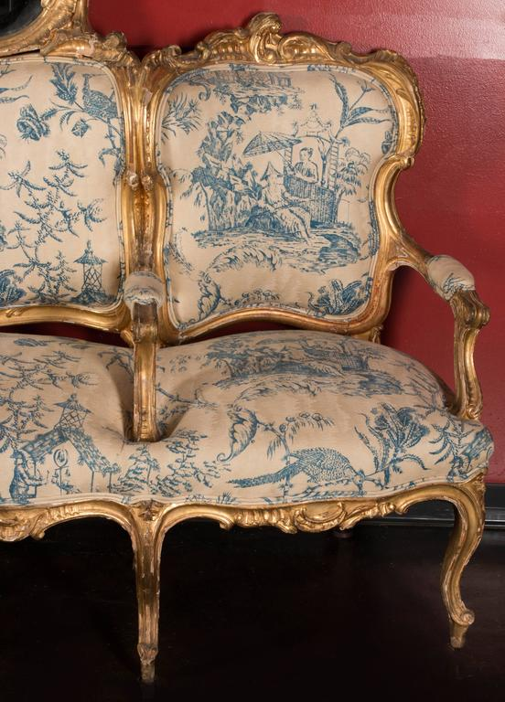 "Gilt 19th Century German Sofa and Mirror or ""Canape De L'amitie"" in Louis XV Style For Sale"