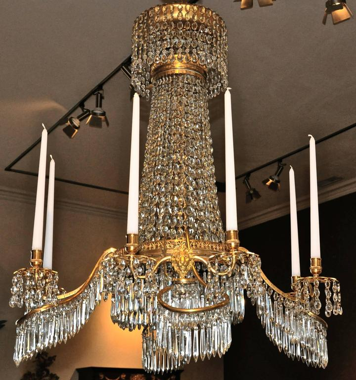 Early 19th Century German Gilt Bronze Neoclassical Chandelier, Werner and Mieth For Sale 1