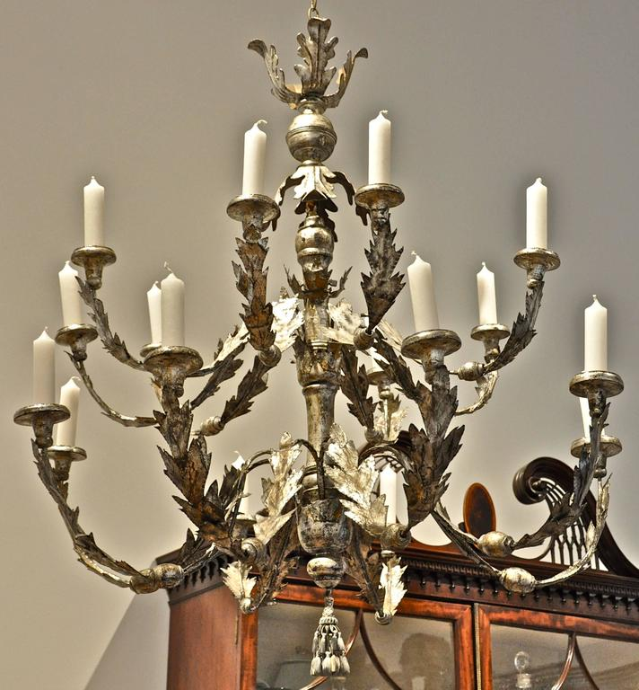 Period 18th Century Italian Neoclassical Silver Gilt Chandelier 3