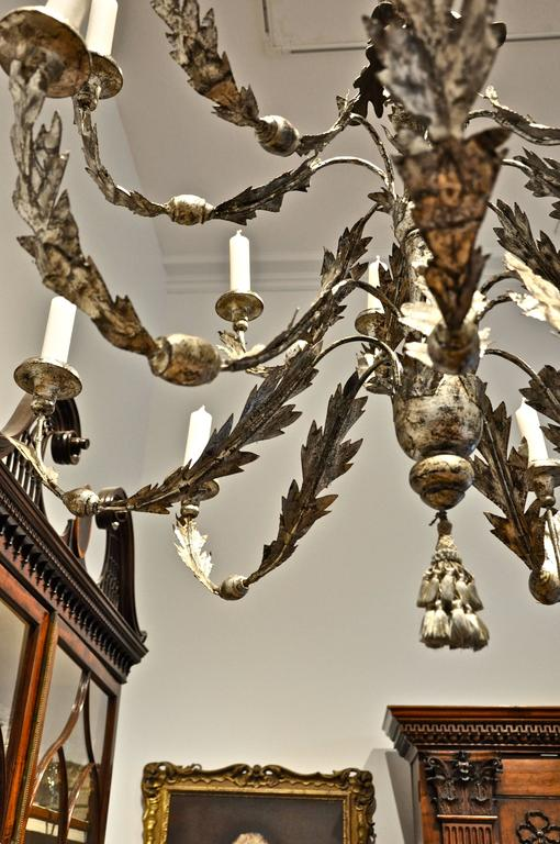 Period 18th Century Italian Neoclassical Silver Gilt Chandelier 5