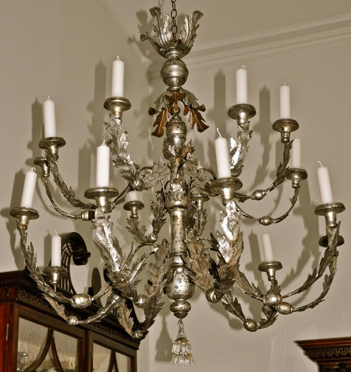 Period 18th Century Italian Neoclassical Silver Gilt Chandelier 6