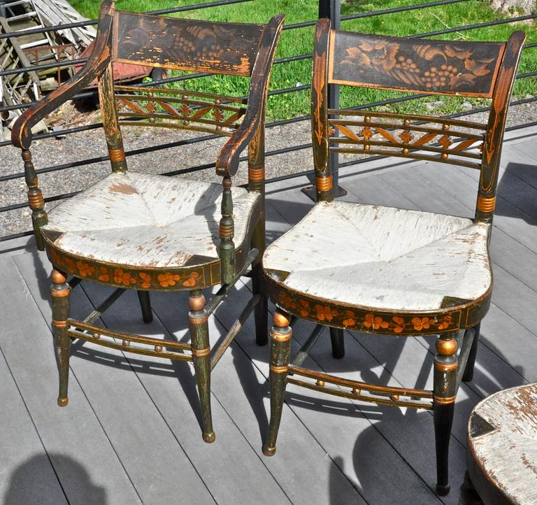 Rare Set of 12 Period Early 19th Century Sheraton Fancy Painted Dining Chairs 4