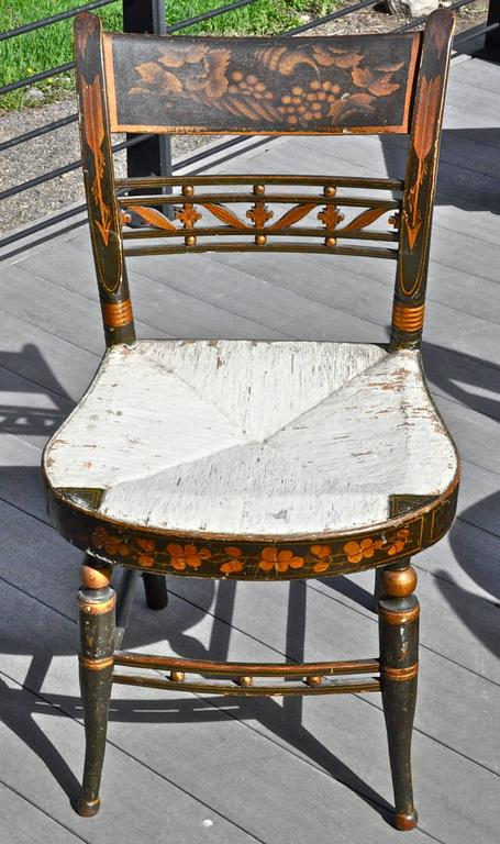 Rare Set of 12 Period Early 19th Century Sheraton Fancy Painted Dining Chairs 2