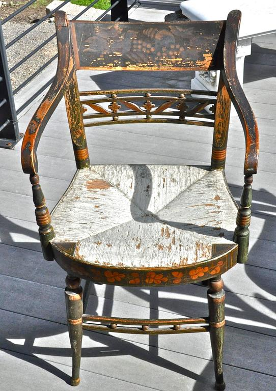 Federal Rare Set of 12 Period Early 19th Century Sheraton Fancy Painted Dining Chairs For Sale