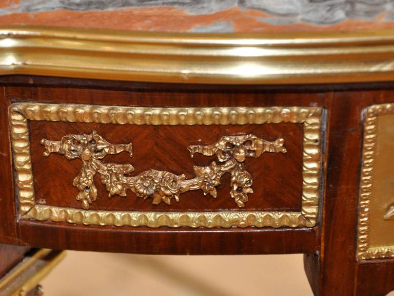 Pair of Louis XVI Style Mahogany and Ormolu Marble-Top Side Tables 3