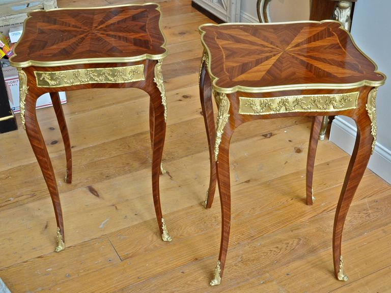 Pair of French Louis XV Style Kingwood and Ormolu Side Tables 2