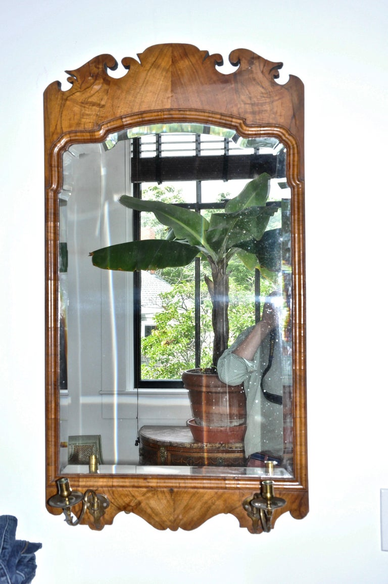 English Pair of 19th Century Walnut Bevelled Mirrors in George II Style For Sale