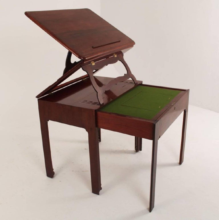 Georgian Period George III Chippendale Mahogany Architect's Table or Desk For Sale