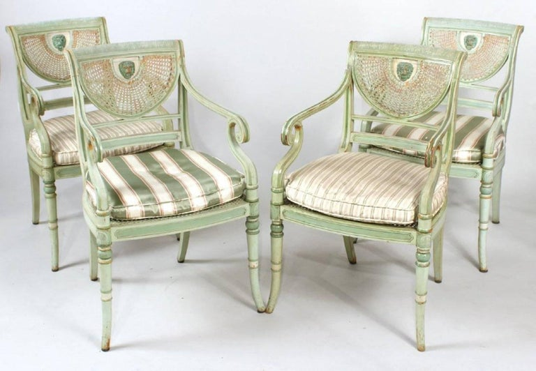 Four Nineteenth Century Painted Regency Chairs  --Wonderful green Neoclassical Painting --Lion Mask On Back --Caning in good shape