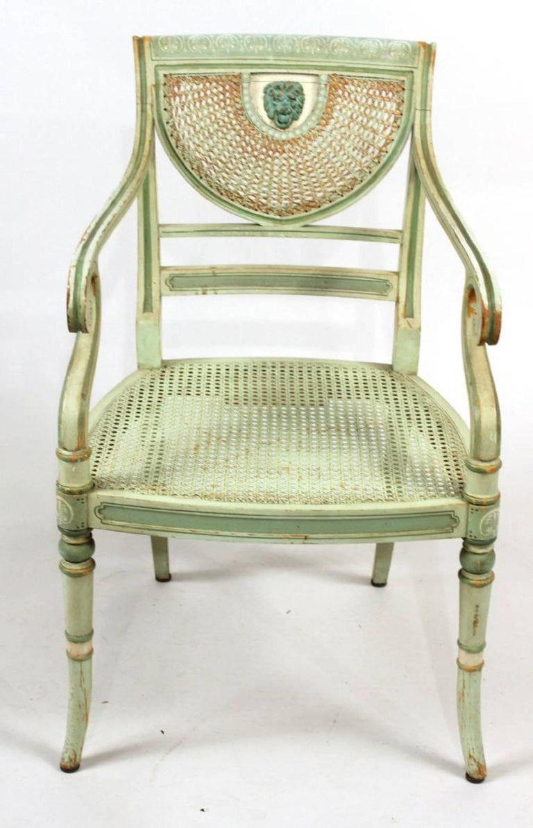 English Set of Four 19th Century Painted Regency Style Neoclassical Armchairs For Sale