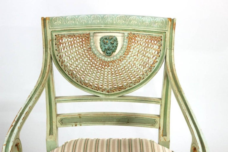 Beech Set of Four 19th Century Painted Regency Style Neoclassical Armchairs For Sale