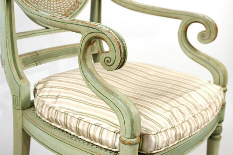 Set of Four 19th Century Painted Regency Style Neoclassical Armchairs For Sale 1