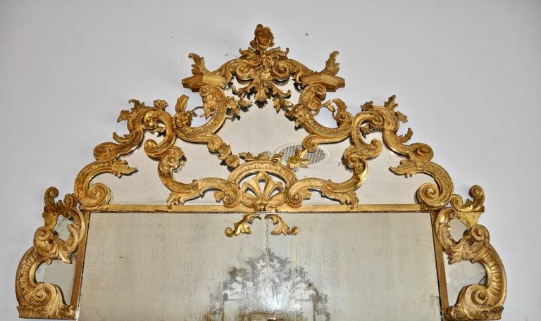 Pair of Louis XVI Gilt Wood Overdoor Mirrors  --Original glass --original gilt --Rare pair --Restorations