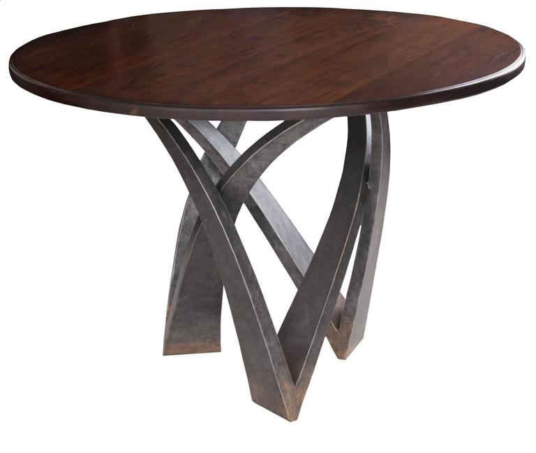 Round Walnut Top Table with Decorative Metal Base