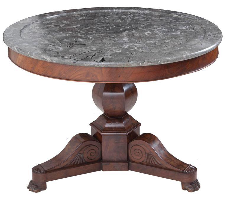 French 19th Century Restauration Mahogany Center Table with Marble Top
