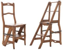 French Vintage Oak Ladder Chair