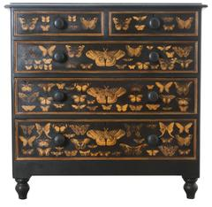 19th Century Victorian Decoupage Moth Chest of Drawers