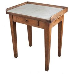 19th Century English Pine and Marble Butcher's Table