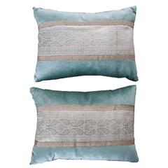 Pair of Antique Textile Pillows by B.Viz Designs