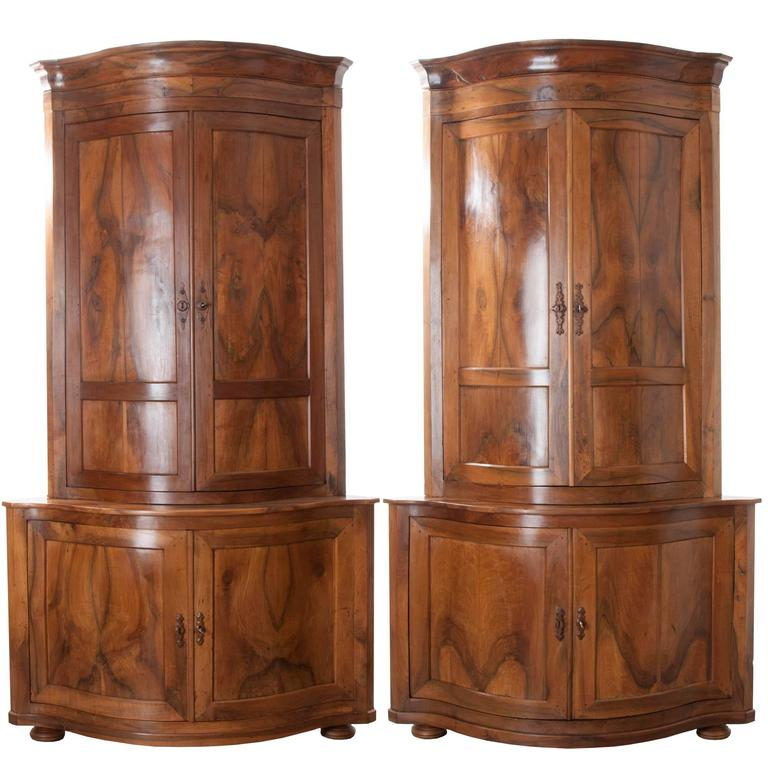 Pair of French 19th Century Walnut Corner Cabinets