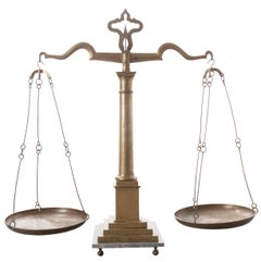 English Late 19th Century Large Brass Table Scale and Weights