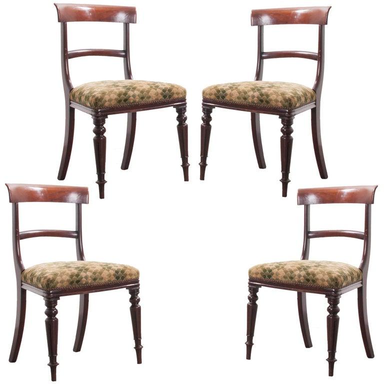 Set of Four English 19th Century Regency Mahogany Chairs