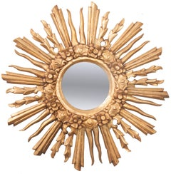 French 19th Century Gold Gilt Starburst Mirror