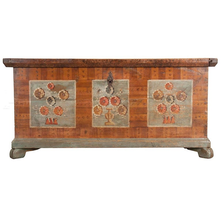 19th Century Alsatian Painted Trunk