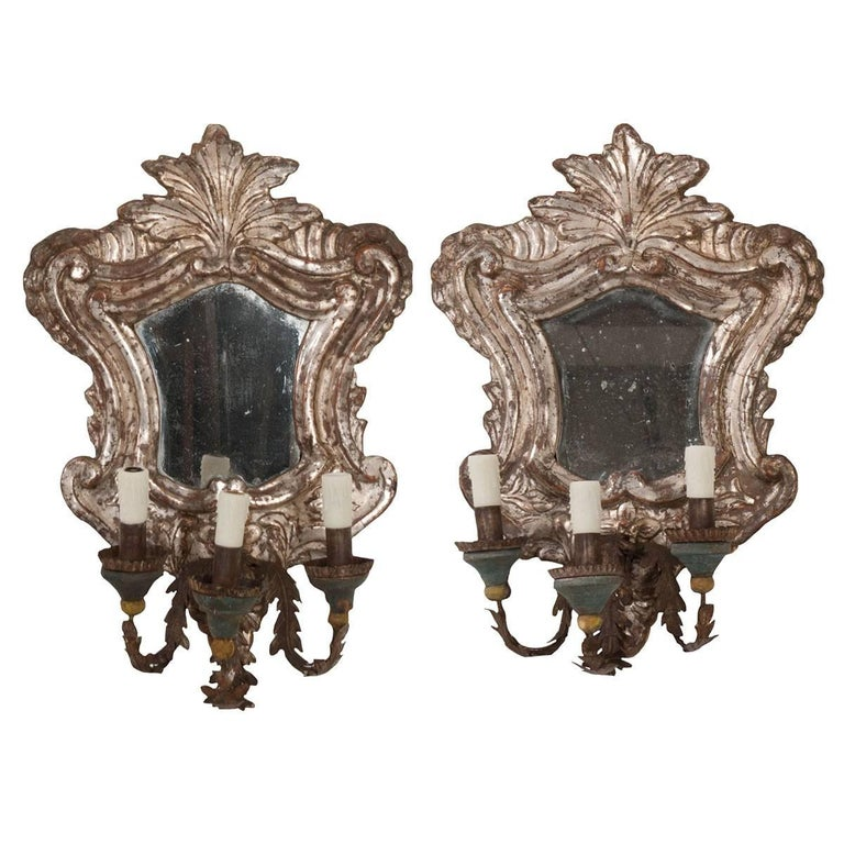 Pair of 18th Century Italian Silver Gilt Venetian Sconces For Sale