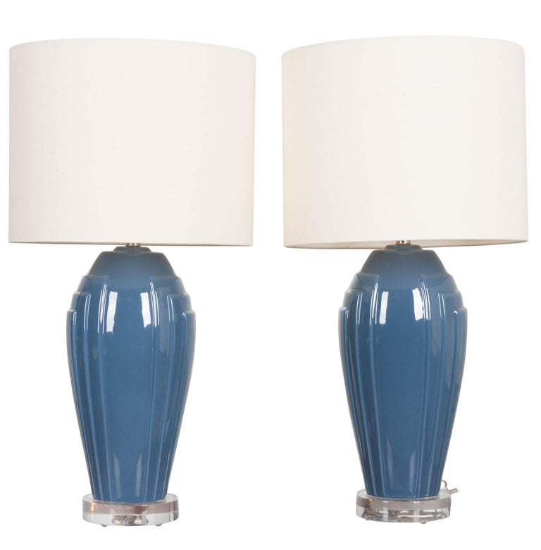 Pair Of Vintage Art Deco Style Lamps With Shades For