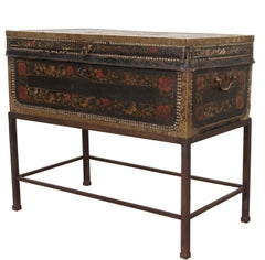 19th Century Painted Leather Chinese Export Trunk on Stand