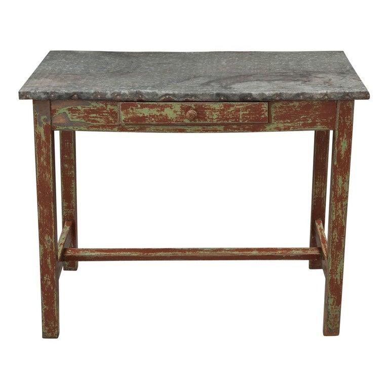 English Early 20th Century Zinc Top Garden Table