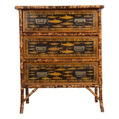 English 19th Century Découpage Fish Chest of Drawers