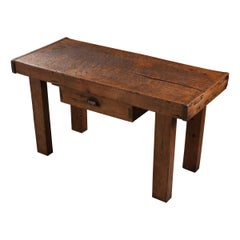 French 19th Century Walnut Workbench Coffee Table