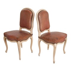 Pair of French 19th Century Painted Louis XV Chairs