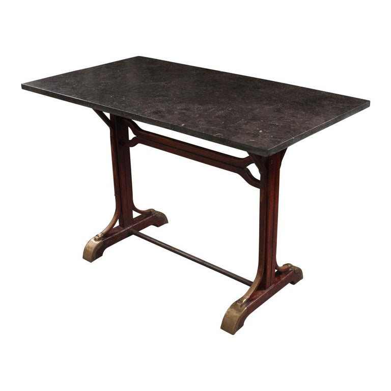 English Early 20th Century Marble-Top Pub Table