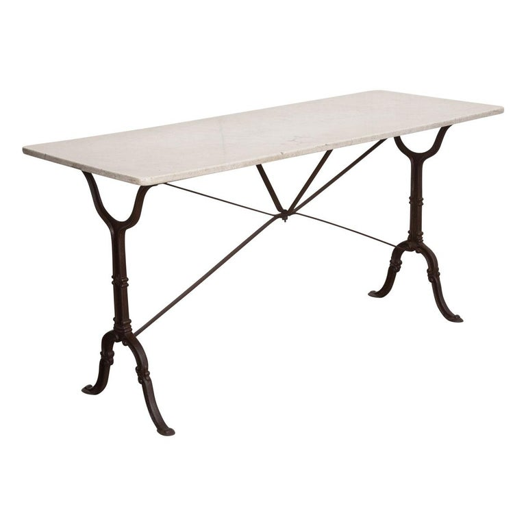 French Early 20th Century Long Marble-Top Bistro Table