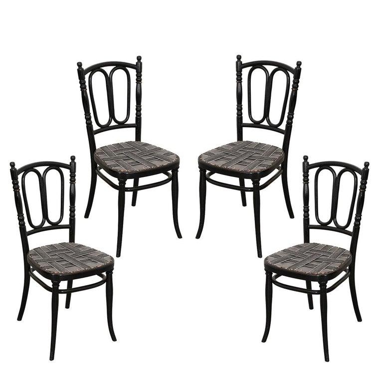 Set of Four Ebony Thonet Bentwood Side Chairs