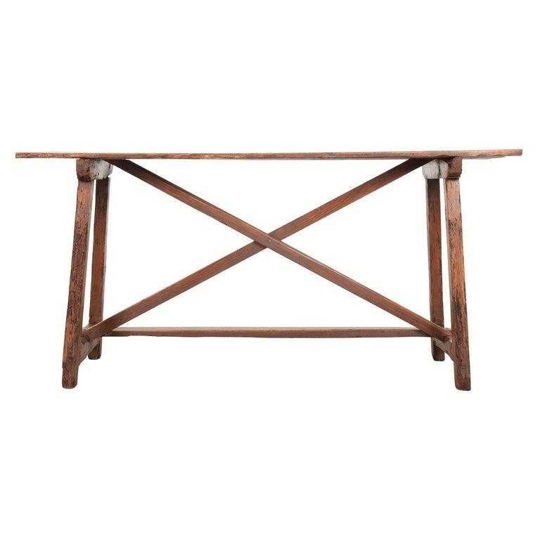 French 19th Century X-Base Farmhouse Table