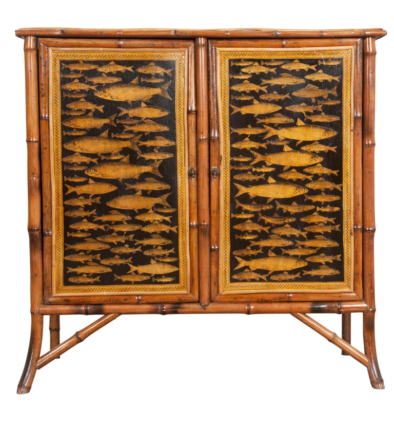 English 19th Century Découpage Fish Bamboo Cabinet