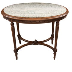 French 19th Century Louis XVI Style Oak Marble-Top Table