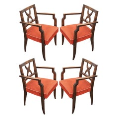 Set of Four French Midcentury Walnut Armchairs