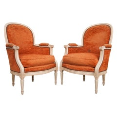 Pair of French 19th Century Painted Louis XVI Style Bergères