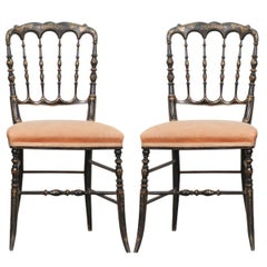 Pair of French 19th Century Hand Painted Ebony Opera Chairs