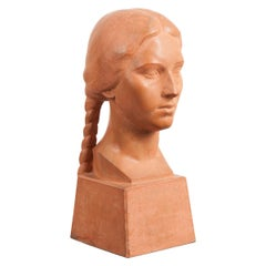 French Early 20th Century Terracotta Bust by Raymond Couvègnes