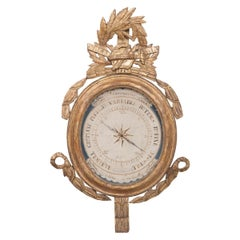 French Early 19th Century Louis XVI Gold Gilt Barometer
