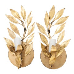 Pair of French Vintage Gilt-Brass Single-Arm Laurel Leaf Sconces
