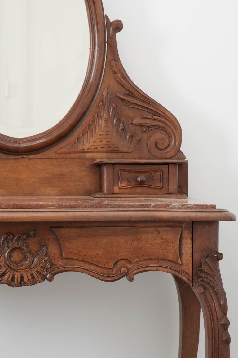 French, 19th Century Louis XV Style Walnut Vanity In Good Condition For Sale In Baton Rouge, LA